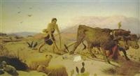 pflügender bauer in einer landschaft by cyril wiseman herbert