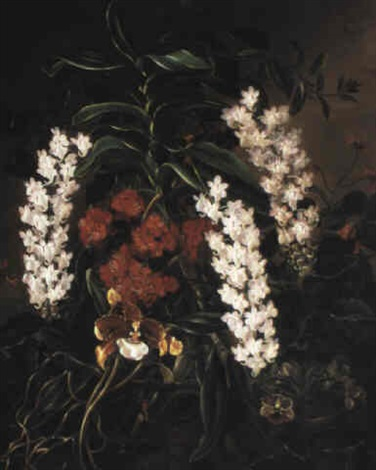 still life with flowers and an orchid by a augusta
