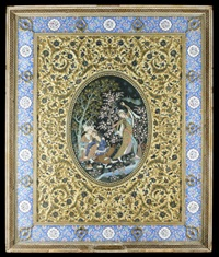 a prince and a maiden in a fond embrace, seated by a stream in a forest, a dancing for them by anonymous-iranian (20)