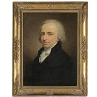 portrait of a gentleman, half length, wearing a black jacket by andrea appiani