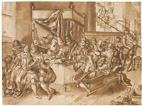 elegant company in an interior drinking and making music by frans francken the younger