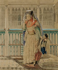 orientale et jeune garçon en costume ottoman by d. fournier