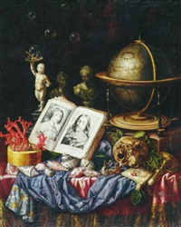 allegory of charles i of england and henrietta of france in a vanitas by simon renard de saint-andre