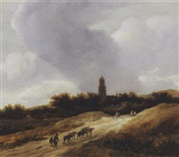 a dune landscape with travellers, shepherds and cattle on a path, a church tower beyond by guillam dubois