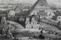stage design with pyramids in an egyptian landscape by antonio basoli