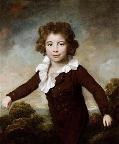 portrait of a young boy in a brown coat and breeches holding a skipping rope before a landscape by lemuel francis abbott