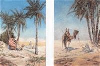 chameau et palanquin attendant le cortège by fortunio