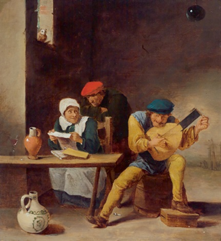 musizierende bauern by david teniers the elder