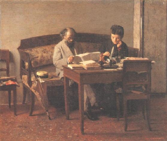 il padre e la sorella del pittore. i miei cari by giacomo favretto