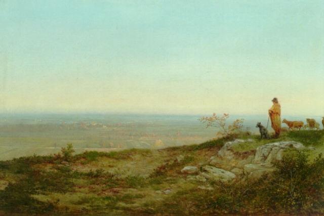 en hyrde ser ud over landskabet ved egnen omkring beauvais by jean jean cornu