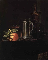 still life of an orange and nuts, a tankard, and a gilt covered cup by simon luttichuys