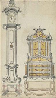 projet pour une pendule et une armoire à deux-corps, avec un plan by german school (18)