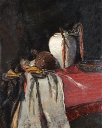 still life of various objects on a table by marie van regteren altena