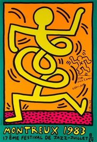 poster for the montreux jazz festival by keith haring