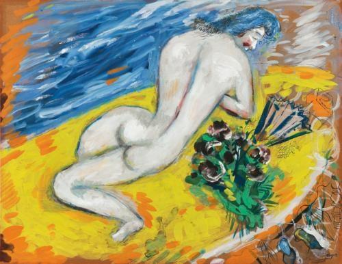 nu à léventail by marc chagall