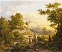 itáliai táj pihenő vándorokkal by karoly marko the elder