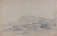 la plage d'etretat by nicolas louis cabat