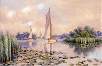 white hulled sailing boats, quiet day, norfolk broads by stephen john batchelder