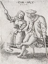tanz der verkrüppelten bettler, die frau mit der krücke in der luft, pl. 9 (from die lahmen, tanzenden bettler) by cornelis massys