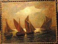 notturno con imbarcazioni by andrea figari