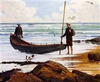 two figures with a curragh by anthony mcnally