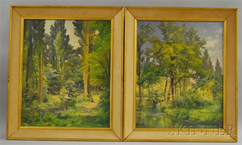 woodland landscape and woodland landscape with nude bathers 2 works by frédéric ragot