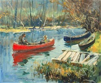 resting in a canoe by anthony thieme