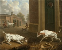 two hounds outside a stable by charles towne