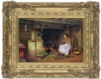 knitting beside the kitchen hearth by henry edward spernon tozer