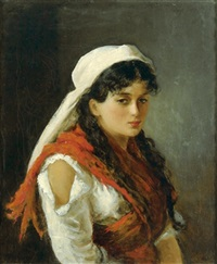 junge ungarische zigeunerin by béla gross