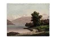 rive du lac de thoune avec chèvres by gustave doré