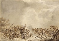 a battle scene between infantry and cavalry by jan anthonie langendyk