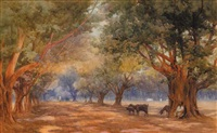 goat herd in a forest by mary georgina barton