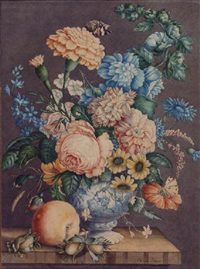 a still life of flowers in a chinese vase, with butterflies, an apple and nuts on a ledge by dirk van assen