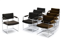 dining table and eight upholstered chrome-plated steel dining chairs by milo baughman
