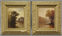 river landscape (+ another; pair) by herman gustav simon