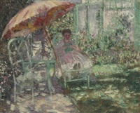 the garden parasol (preliminary study) by frederick carl frieseke