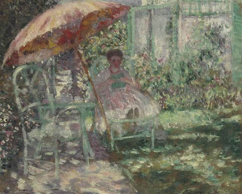 the garden parasol preliminary study by frederick carl frieseke