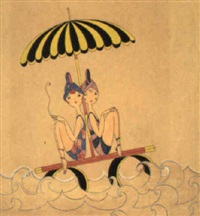 two women on diving platform beneath umbrella by anne hariet (sefton) fish