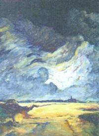 ovädersstämning över holländskt landskap by kees bastiaans