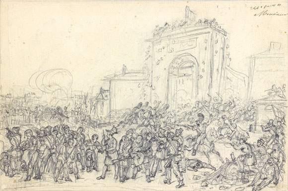 le combat de la porte saint denis étude de personnages verso by hippolyte lecomte