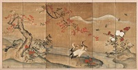 birds and flowers (on 6 panel screen) by japanese school-meiji (19)