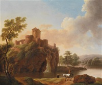 zwei bukolische landschaften (gegenstücke) (pair) by dorothea maria wagner