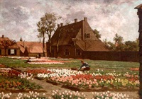 tending to the tulips by antonie louis koster