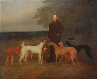 portrait of george darlinson and five of his greyhounds in a rural landscape by george morley