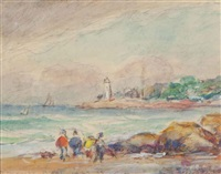 good harbor beach; two companion works (3 works) by reynolds beal