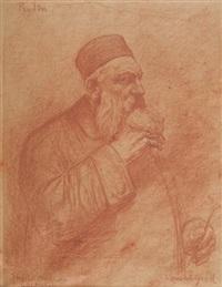 portrait d'auguste rodin tenant un ébauchoir by lucien laurent-gsell
