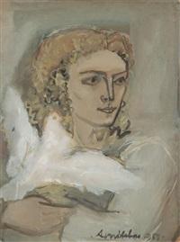 femme de trois-quarts à la colombe by avni arbas