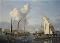 a view of the port at dordrecht by nicolas baur