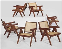 easy armchairs (set of 6) by pierre jeanneret